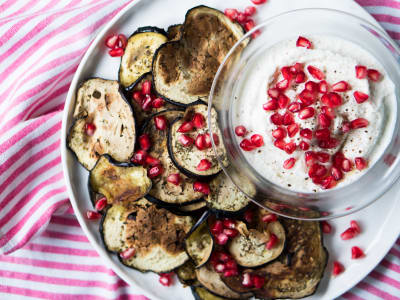 Image forRoasted Eggplant Chips with Ricotta Cheese Dip