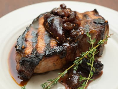 Image forGrilled Berkshire Pork Chops with Mission Fig Chutney