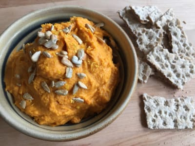 Image forButternut Squash Hummus with Toasted Sunflower Seeds