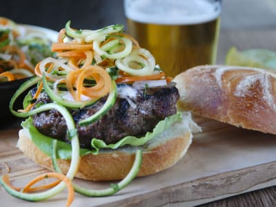 Image forChipotle Burgers with Spiralized Carrot and Cucumber Slaw