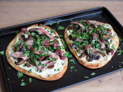 Image forSteak, Mushroom, and Olive Naan Pizzas