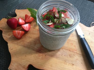 Image forChia Seed Pudding with Strawberries and Dates