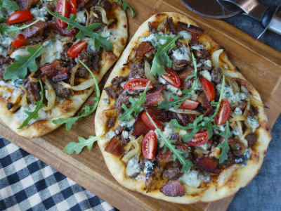 Image forBacon and Blue Cheeseburger Flatbread with Caramelized Onions
