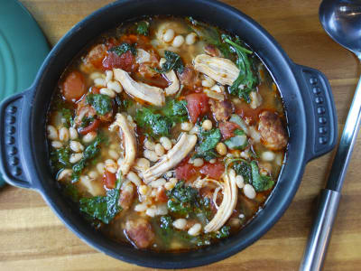 Image forChicken, Chorizo, and Baby Kale Soup