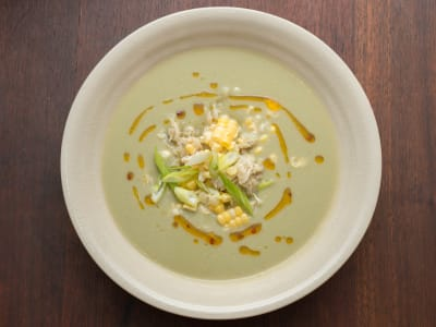 Image forCreamy Corn Soup with Crab and Chili Oil