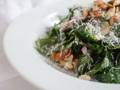 Image forKale Salad with Toasted Almonds, Cranberries, and Honey Mustard Vinaigrette