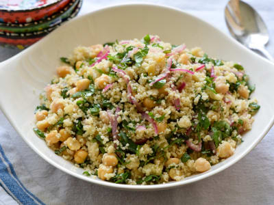Image forHerbed Couscous Salad with Chickpeas, Preserved Lemon, and Pickled Onions