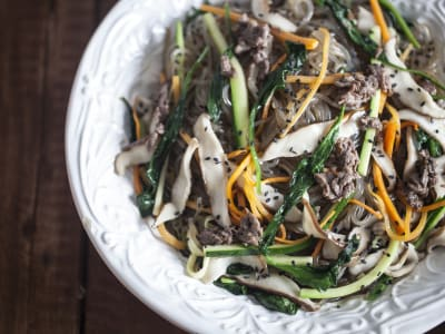 Image forKorean Japchae (Stir-Fried Vermicelli with Vegetables)