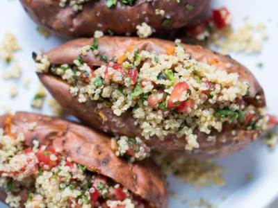 Image forVegan Loaded Sweet Potatoes with Quinoa Tabbouleh