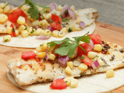 Image forGrilled Fish Tacos with Corn Salsa