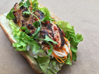 Image forTurkey Banh Mi Sandwiches with Pickled Daikon and Carrots