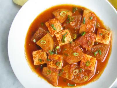 Image forSpicy Braised Tofu, Radish, and Sweet Potato