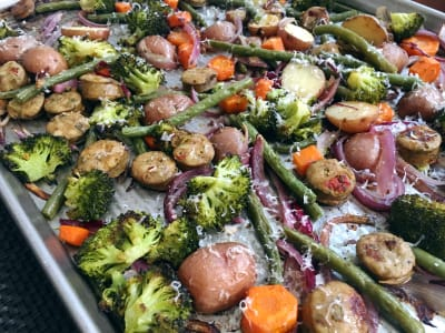 Image forOne-Pan Roasted Vegetables with Sausage
