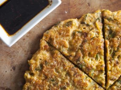 Image forKorean Kimchi Mung Bean Pancakes