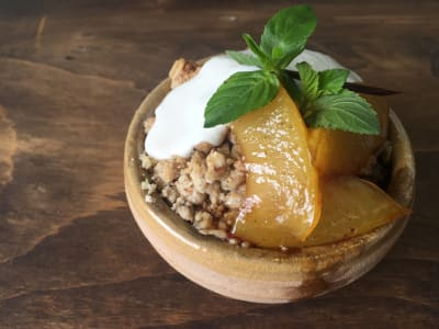 Image forClove-Oat Crumble with Sweet Plums and Ricotta Cheese