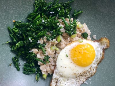 Image forSavory Oatmeal with Broccolini and Fried Egg