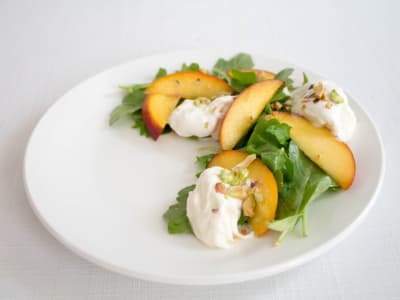 Image forQuick-Pickled Peach and Burrata Salad