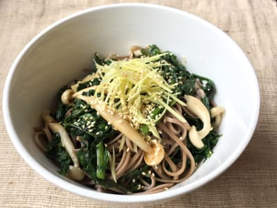 Image forCold Soba with Chrysanthemum Leaves and Shimeji Mushrooms