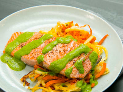 Image forOne-Pan Salmon with Spiralized Sweet Potatoes and Turnips