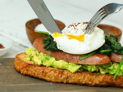 Image forBreakfast Avocado Toast with Chicken Sausage and Poached Egg