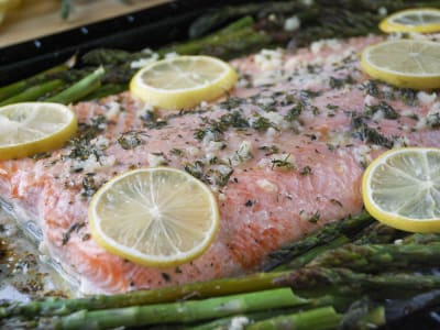 Image forSheet Pan Lemon-Thyme Salmon with Asparagus