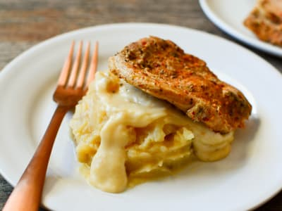 Image forPressure Cooker Pork Chops with Onion Mashed Potatoes and Gravy