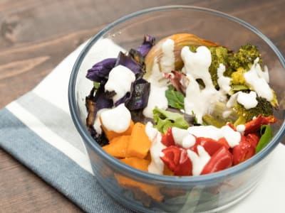 Image forMeal Prep: Roasted Fall Veggie Salads with Lemon-Tahini Dressing