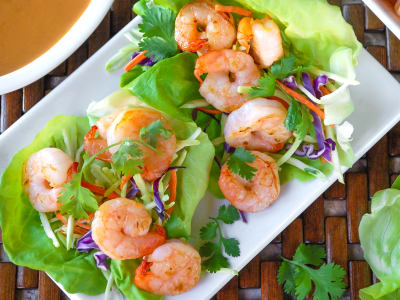 Image forEasy Shrimp Lettuce Wraps with Spicy Peanut Sauce
