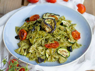 Image forGrilled Veggies and Pesto Pasta Salad