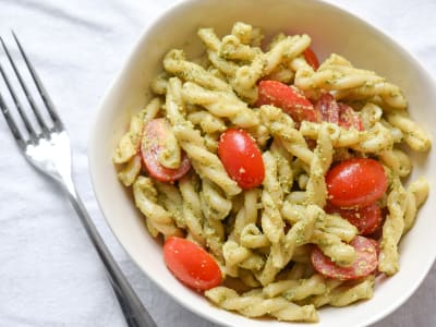 Image forPasta with Cilantro-Pecan Pesto and Grape Tomatoes