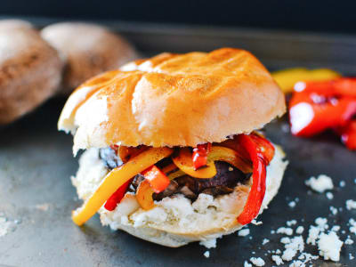 Image forGrilled Portobello, Bell Pepper, and Goat Cheese Sandwich