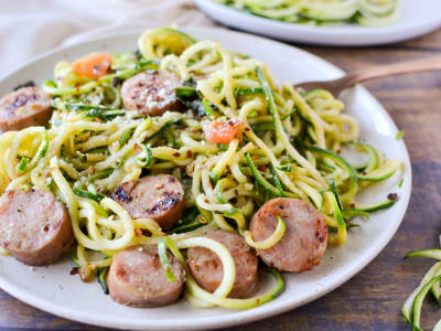 Image forZucchini Noodles with Chicken Sausage, Tomato, and Basil