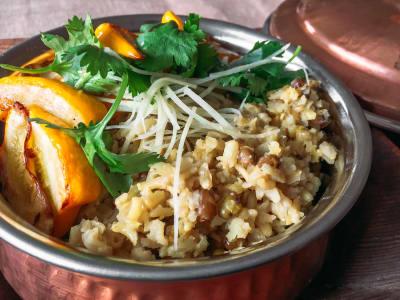 Image forBrown Basmati Rice and Mung Bean Kitchiri with Yellow Squash
