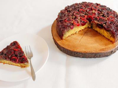 Image forCherry Semolina Upside-Down Cake