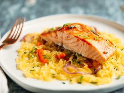 Image forBarbeque Salmon with Spaghetti Squash Sauté