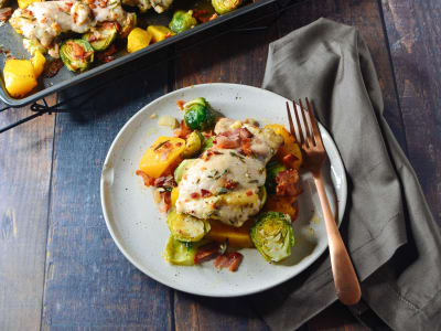 Image forOne-Pan Chicken with Butternut Squash, Brussels Sprouts, and Bacon