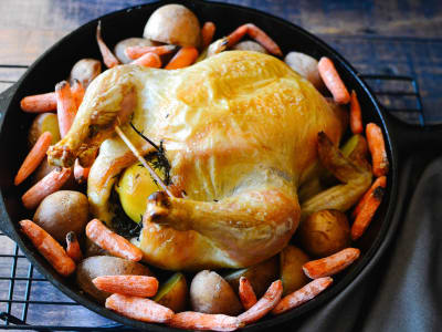 Image forCast-Iron Skillet Chicken with Carrots and Potatoes