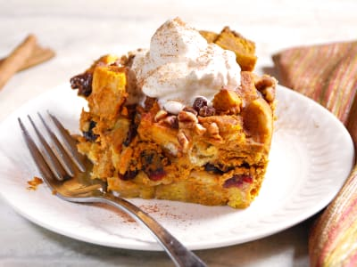 Image forPumpkin Spice Bread Pudding with Maple Whipped Cream