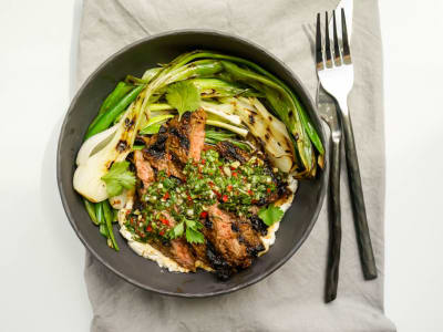 Image forGrilled Skirt Steak Chimichurri with Grilled Spring Onions