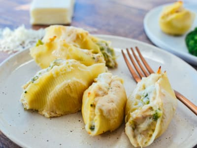 Image forChicken and Broccoli Alfredo-Stuffed Shells