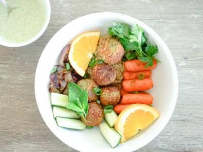 Image forFalafel and Roasted Vegetable Buddha Bowls with Toasted Pumpkin Seed Yogurt Sauce