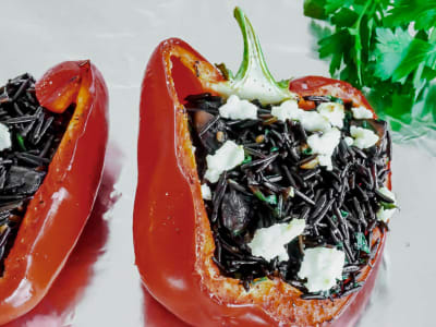 Image forWild Rice and Portobello-Stuffed Peppers
