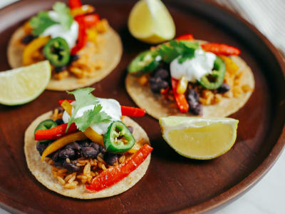 Image forVegetarian Tacos with Beans and Mexican Rice