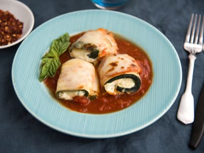 Image forZucchini Roll-Ups with Ricotta and Tomato Sauce