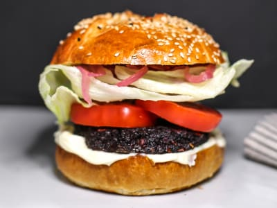 Image forPortabello Mushroom and Beet Burgers