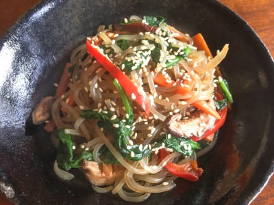Image forKorean Vegan Chap Chae (Stir-Fried Glass Noodles)