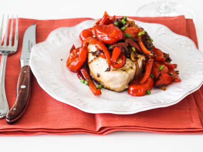 Image forGrilled Pork Chops with Pickled Peppers and Onions