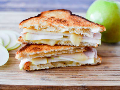 Image forTurkey, Apple, and Swiss Grilled Cheese Sandwiches
