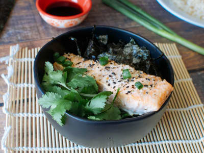 Image forSalmon Buddha Bowls with Soy Vinaigrette
