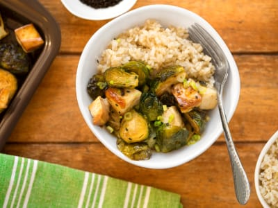 Image forSheet Pan Tofu and Brussels Sprouts with Sweet Sesame Glaze